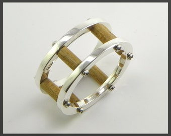 Ring Silver and Wood - mechanical assembly  unconventional style