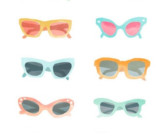 Illustration - Sunglasses Watercolor - Archival Print
