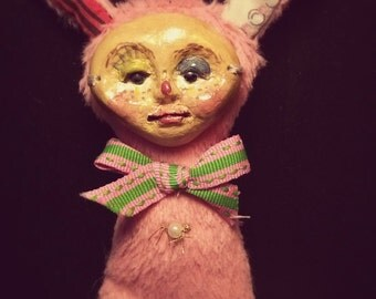 I do Magic while you sleep,  OOAK collectible small Art Doll hand made of clay and viscose