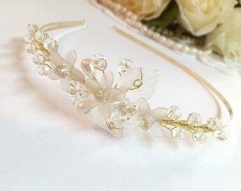 Bridal headband, crystal wedding headband, bridal wedding hair accessories, wedding headband headpiece, pearl crown headband tiara 236580959