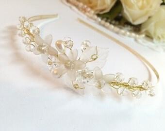 Flower girl headband, flower girl headpiece, flower girl hair accessories, flower girl head piece, flower girl crystal tiara, flower girl