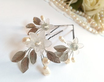 Set of 3 bridal hair pins, wedding hair accessories, pearl hair pins, bridal hair accessories, wedding hair pins, flower hair pins, hair pin