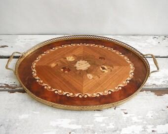 Vintage Italian Wood Inlay Tray