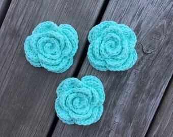 Crochet Face Scrubbies, Mint Flower Scrubbies, Reusable Cotton Rounds, Facial Scrubbies, Makeup Removers, Eco Friendly Cleansing Pads