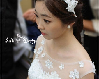 Wedding Headband, Lace Flower Headband, Bridal Lace Headband, Wedding Hair Fascinator, Wedding Accessories-code:HB154rai
