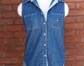 SALE Tommy Hilfiger Button Up Sleeveless Jean Shirt
