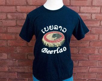 """SALE Soft Vintage Beer Shirt """"Beerlao"""" Laos / Vietnamese"""