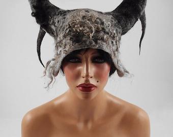 Viking Hat Winter Hat Felted Hat Grey Hat Wool Hat Warm Hat Antlers Hat Horn Hat WILD BEAUTY Art Hat Gray hats Felt wearable art