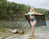 Lily Polka Dot Mint Bow Ruffle High Waist Bikini Swimsuit