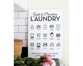 WOOD Laundry Sign, Guide To Procedures, Laundry Room, Symbols, Rules, Sign, Decor, Art, Wall, Decor, Solid Wood