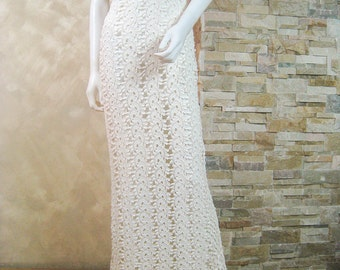 Exclusive ivory crochet lace wedding dress, lace bridal dress, crochet wedding dress, ivory crochet lace dress, crochet bridal gown