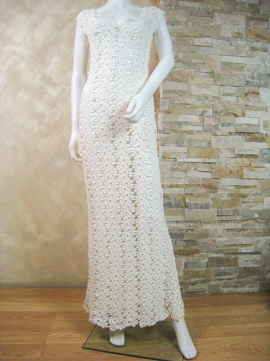 Exclusive ivory crochet lace wedding dress lace bridal dress for Crochet lace wedding dress pattern