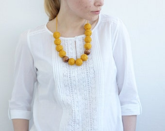 mustard long beads handmade necklace thread cotton for women lace textile wooden beads natural bright