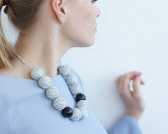 Gray long beads handmade necklace thread cotton for women lace textile wooden beads natural