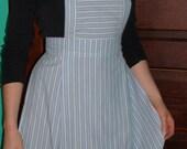 Repurposed Blue and White Striped Hostess Apron, Vintage-Inspired Apron, Retro Tea Apron, Girls' or Ladies' Bib Apron