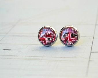 Red Circuit Board Post Stud Earrings, Geeky Nerdy Girl Geometric Minimalist jewelry