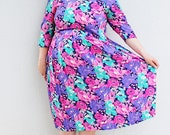 Plus Size - Vintage Pink Floral Pleated Swing Skirt Dress (Size 13/14)