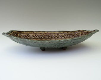 Wavy Bowl Platter • Hand Built & Carved Stoneware • Sage Green, Brown, Tan, Gold • Serving, Fruit, Display • Pedestal •  Triangle • Aztec