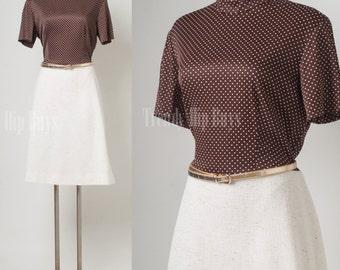 Vintage Dress, Vintage Brown Dress, 60s dress, Mad Men dress, swiss dot dress - XL
