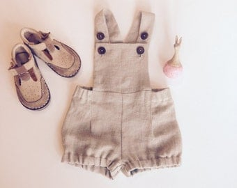 Baby boy overalls Linen dungarees Baby boy linen shorts Baby boy romper Diaper cover Baby boy clothes 1st birthday suit