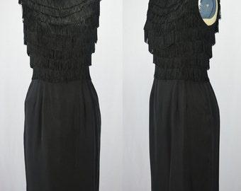 """1960s Black Fringe Wiggle & Shimmy Dress For a Vintage Vamp Bust 34"""""""