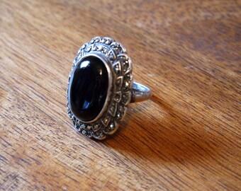 Sterling Vintage Art Deco Black Onyx Oval Stone Ring sz 4.5