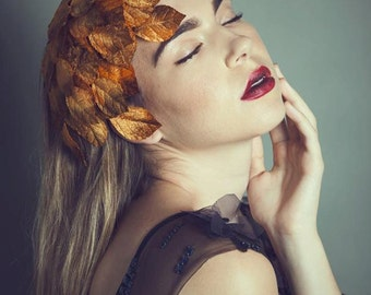 "MADE TO ORDER ""Autumn"" - Velvet Leaves Headpiece with Comb"