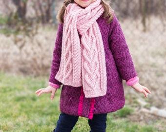 PDF KNITTING PATTERN - Hearts Scarf - Kids scarf - Child - Toddler - Accessory - Winter - Shawl - Wrap