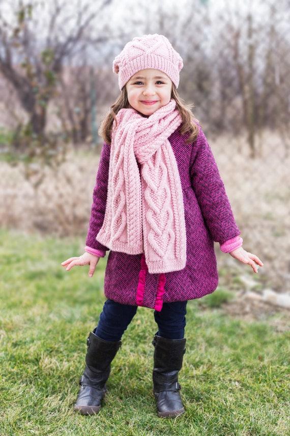 PDF KNITTING PATTERN Hearts Scarf Kids scarf Child