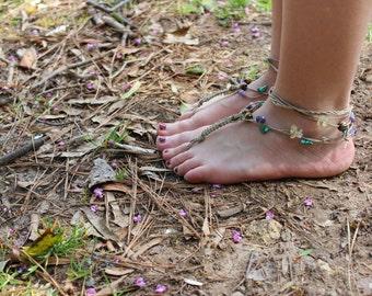 Customized Crystal Barefoot Hemp Sandals