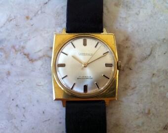 ViNTAGE Lebernco WATCH - Fine French 17 Jewel Movement. Madison Avenue Style. Mid Century Modern Square Case Watch