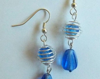 Light Blue Silver Spiral Earrings