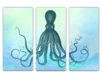Octopus Art Nautical Prints Gold Foil Maps By