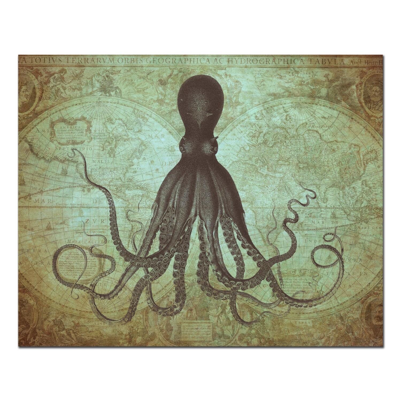 octopus on antique world map octopus on map art print