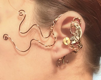 Copper and Watch Movement Ear Wrap - Left Ear
