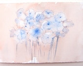 Flower watercolor painting-Blue Daisies. Fantasy flowers illustration. Small watercolors 7, 5 by 11/ Pastel cream and blue floral art