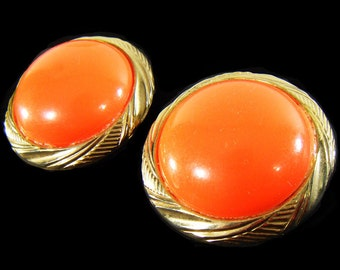 "Vintage 60's HUGE! Oversized Round Orange & Gold Tone Clip On Earrings 1.75"" x 1.75"""