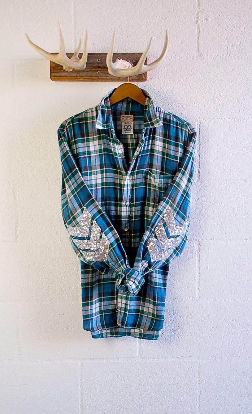 Sequin plaid flannel shirt sequin chevron elbow patch for Mens flannel shirt with elbow patches