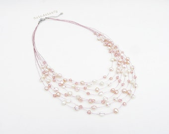 White pink peach freshwater pearl necklace with crystal on silk thread, multistrand necklace, wedding jewelry