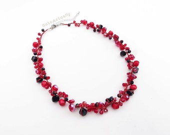 Red black crystal necklace on silk thread, short necklace