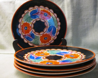 Mrazek Czech Eight Inch Black Bird Plates, Early Work, Made in the U.S. Five Available