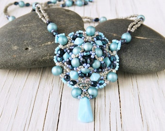 Turquoise Beaded Necklace, Seed Beed and Crystal Beadwoven Pendant, Statement Necklace