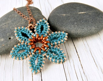 Turquoise Flower Pendant with Copper Colored Chain, Reversible Necklace, Botanical Jewelry, Beadwoven Blue Flower Pendant, CRAW Jewelry