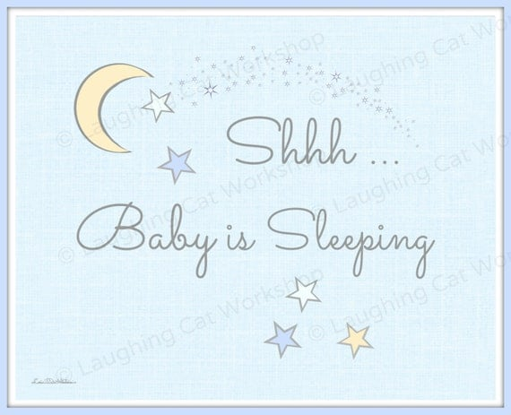 Cute Baby Print Cute Baby Door Art Sleeping Sleep Quiet Nap