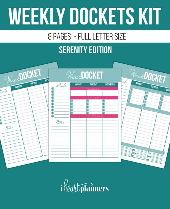 Weekly Planning Set, Weekly Planner, INSTANT Download, 8 pages