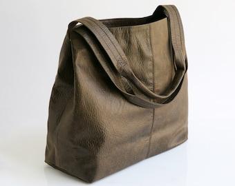 Vegan Leather Tote - Oversized Bag - Distressed Brown Leather Vegan Purse - Women Bag - Shoulder Bag - Weekender Bag - Tami Bag