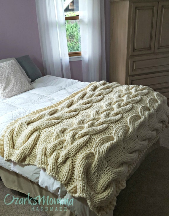 in stock sale chunky oversized cable knit blanket by ozarksmomma. Black Bedroom Furniture Sets. Home Design Ideas