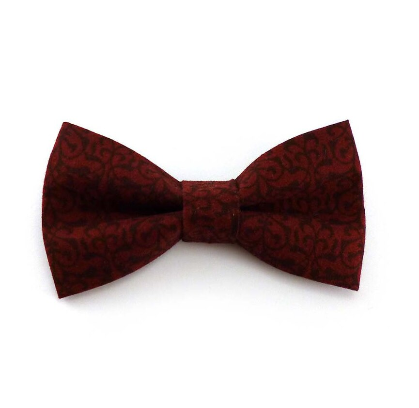 Burgundy Clip On Bow Tie Wine Red Clip-on Bow Tie Damask