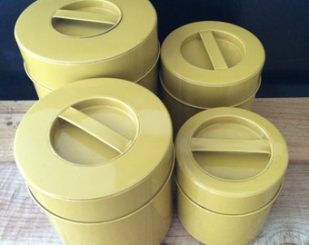 Set of 4 OMC Retro Mustard Canisters