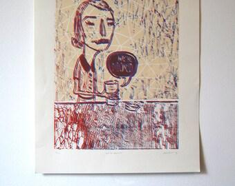 We're Doomed 3-D woodblock print, Illustration, Wall Print